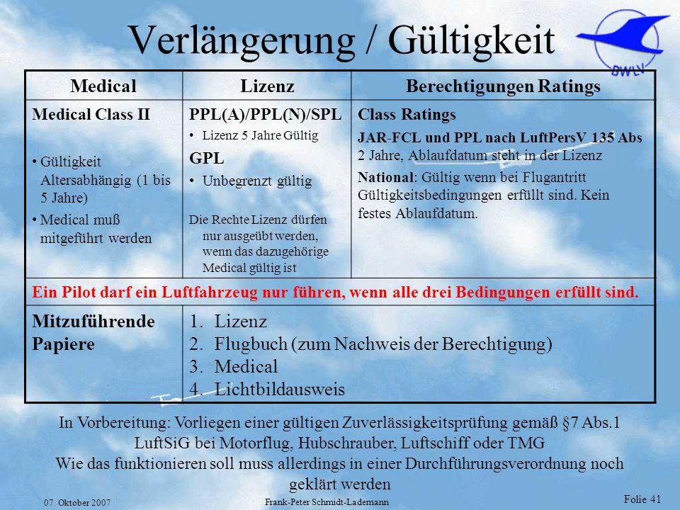 Folie 41 07. Oktober 2007 Frank-Peter Schmidt-Lademann Verlängerung / Gültigkeit MedicalLizenzBerechtigungen Ratings Medical Class II Gültigkeit Alter