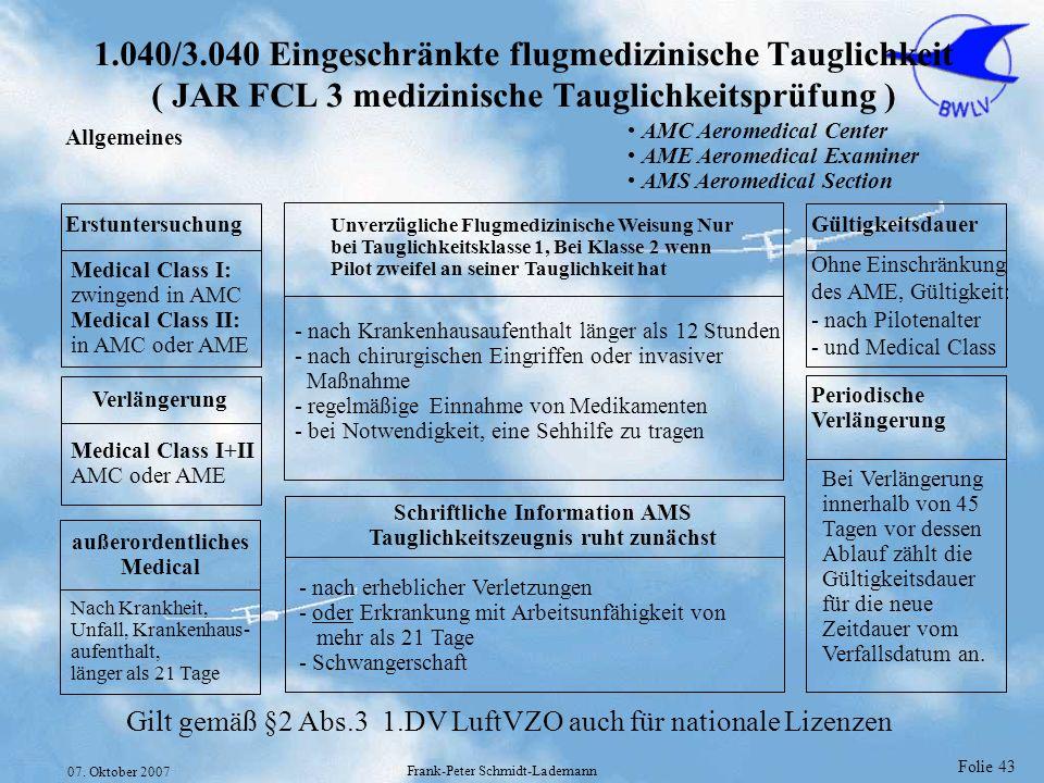 Folie 43 07. Oktober 2007 Frank-Peter Schmidt-Lademann 1.040/3.040 Eingeschränkte flugmedizinische Tauglichkeit ( JAR FCL 3 medizinische Tauglichkeits