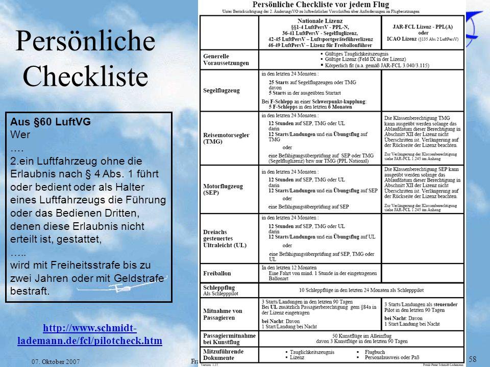 Folie 58 07. Oktober 2007 Frank-Peter Schmidt-Lademann Persönliche Checkliste http://www.schmidt- lademann.de/fcl/pilotcheck.htm Aus §60 LuftVG Wer ….