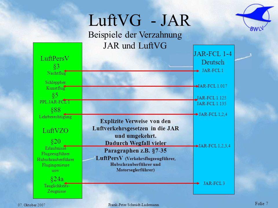 Folie 7 07. Oktober 2007 Frank-Peter Schmidt-Lademann LuftVG - JAR LuftPersV LuftVZO JAR-FCL 1-4 Deutsch §5 PPL JAR-FCL 1 JAR-FCL 1.125 JAR-FCL 1.135