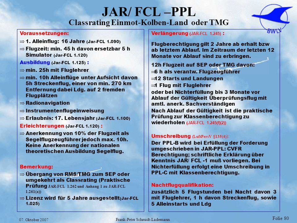 Folie 80 07. Oktober 2007 Frank-Peter Schmidt-Lademann JAR/ FCL –PPL Classrating Einmot-Kolben-Land oder TMG Voraussetzungen: 1. Alleinflug: 16 Jahre