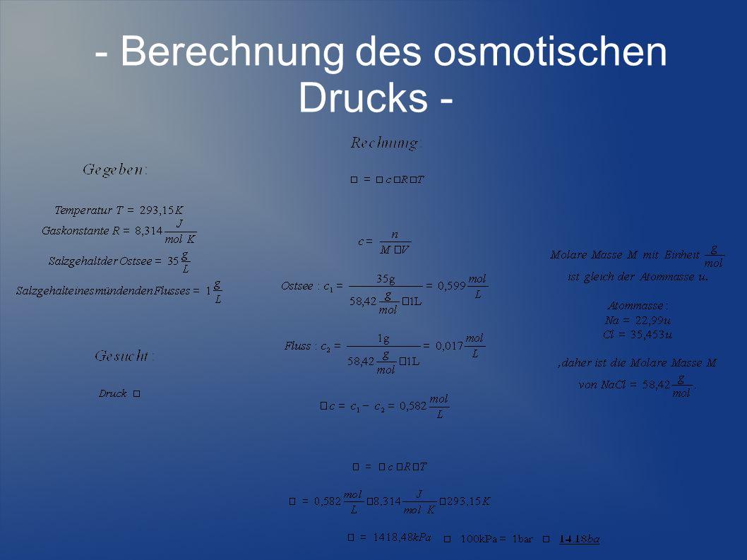 - Berechnung des osmotischen Drucks -