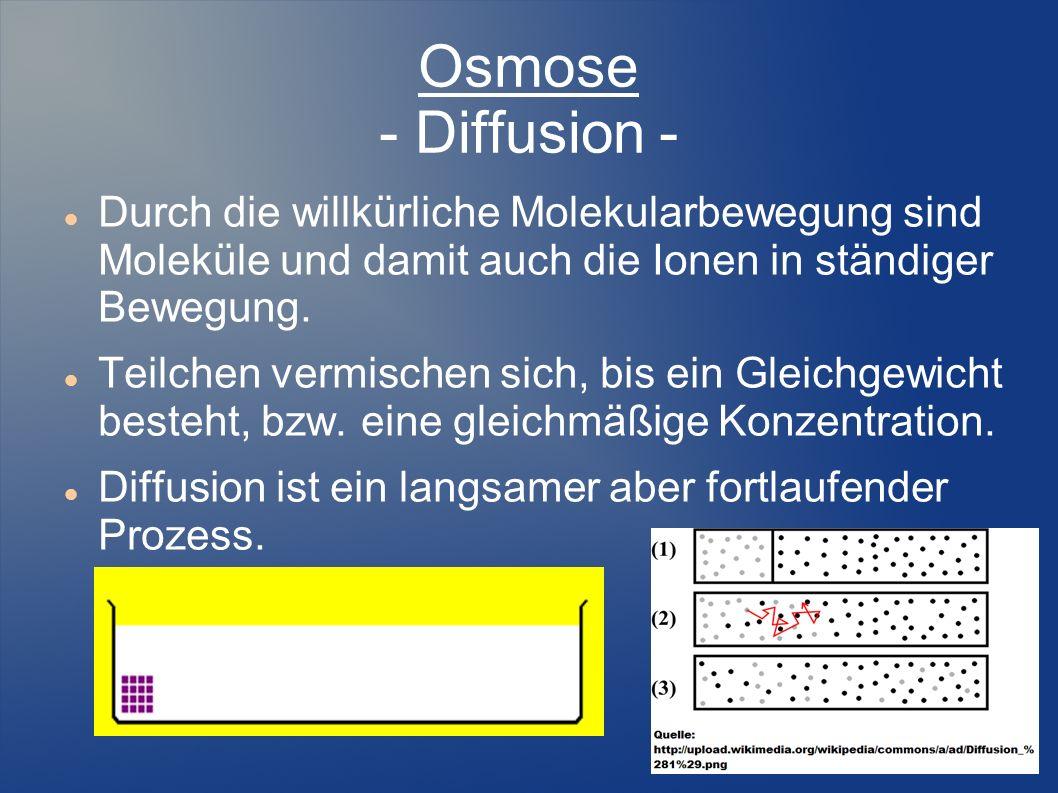 Osmose - Diffusion - Durch die willkürliche Molekularbewegung sind Moleküle und damit auch die Ionen in ständiger Bewegung. Teilchen vermischen sich,