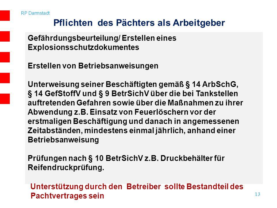 RP Darmstadt 13 Pflichten des Pächters als Arbeitgeber Gefährdungsbeurteilung/ Erstellen eines Explosionsschutzdokumentes Erstellen von Betriebsanweis