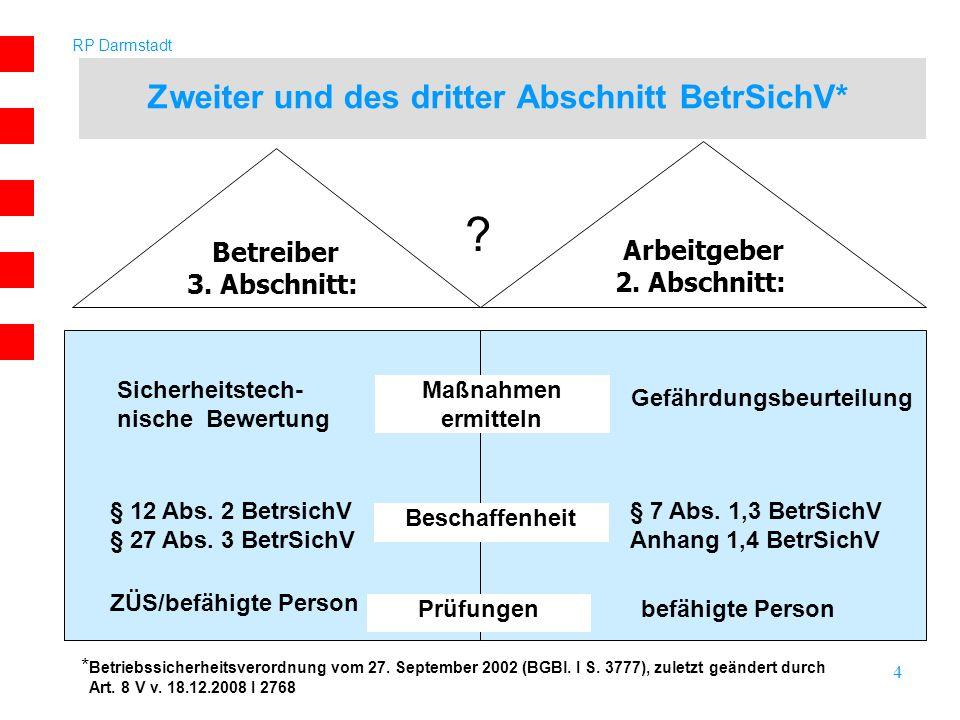 RP Darmstadt 4 Zweiter und des dritter Abschnitt BetrSichV* Betreiber 3. Abschnitt: Arbeitgeber 2. Abschnitt: Maßnahmen ermitteln Sicherheitstech- nis