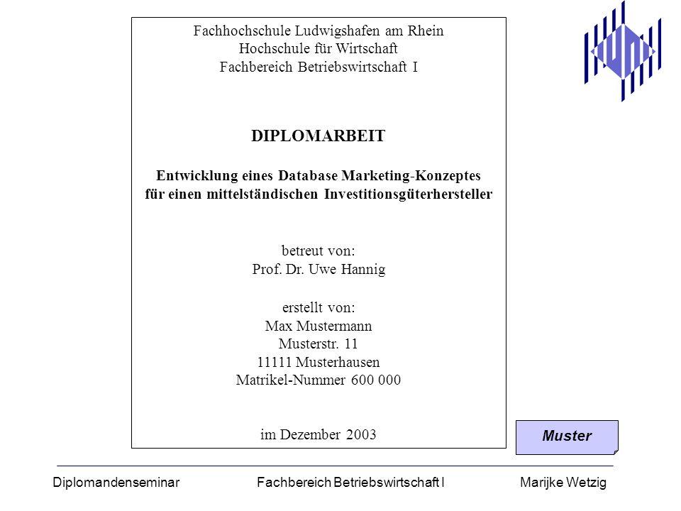 Diplomandenseminar Fachbereich Betriebswirtschaft I Marijke Wetzig Fachhochschule Ludwigshafen am Rhein Hochschule für Wirtschaft Fachbereich Betriebs