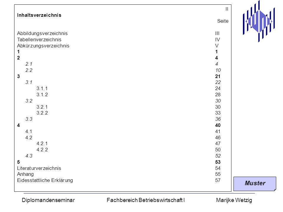 Diplomandenseminar Fachbereich Betriebswirtschaft I Marijke Wetzig II Inhaltsverzeichnis Seite AbbildungsverzeichnisIII TabellenverzeichnisIV Abkürzun