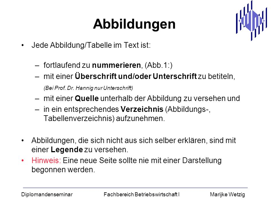 Abbildungen Jede Abbildung/Tabelle im Text ist: –fortlaufend zu nummerieren, (Abb.1:) –mit einer Überschrift und/oder Unterschrift zu betiteln, (Bei P