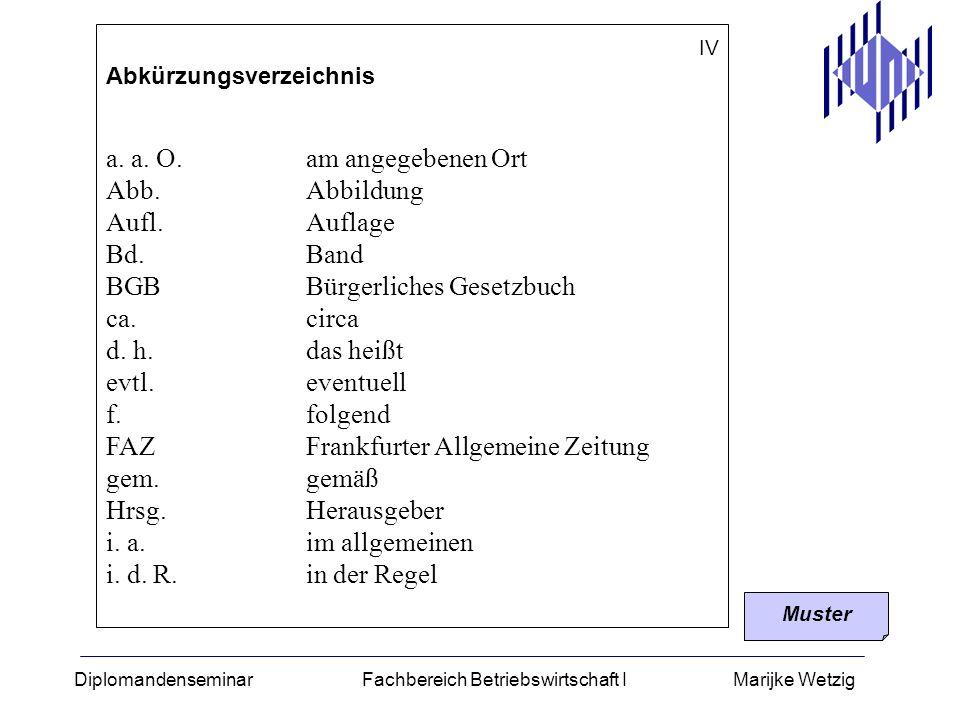 Diplomandenseminar Fachbereich Betriebswirtschaft I Marijke Wetzig IV Abkürzungsverzeichnis a. a. O.am angegebenen Ort Abb.Abbildung Aufl.Auflage Bd.