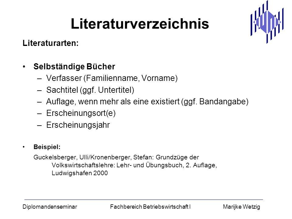 Diplomandenseminar Fachbereich Betriebswirtschaft I Marijke Wetzig Literaturverzeichnis Literaturarten: Selbständige Bücher –Verfasser (Familienname,