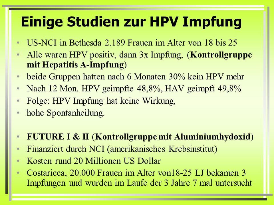 Einige Studien zur HPV Impfung US-NCI in Bethesda 2.189 Frauen im Alter von 18 bis 25 Alle waren HPV positiv, dann 3x Impfung, (Kontrollgruppe mit Hep