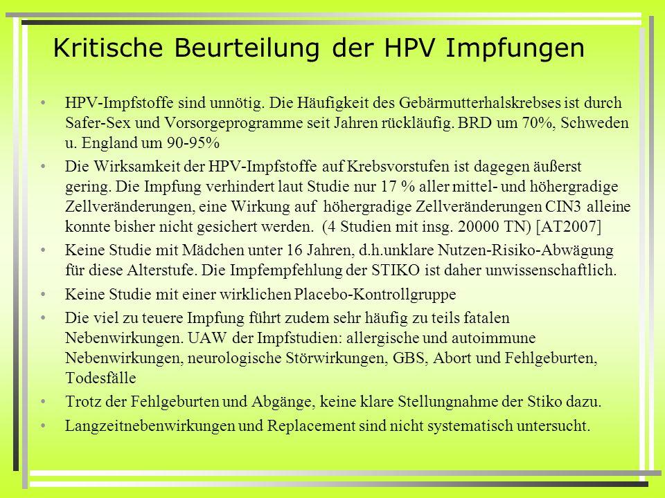 Kritische Beurteilung der HPV Impfungen HPV-Impfstoffe sind unnötig. Die Häufigkeit des Gebärmutterhalskrebses ist durch Safer-Sex und Vorsorgeprogram