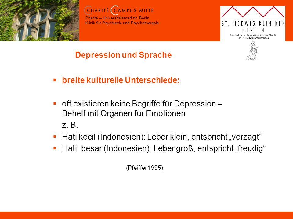 Charité – Universitätsmedizin Berlin Klinik für Psychiatrie und Psychotherapie Depression und Sprache breite kulturelle Unterschiede: oft existieren k