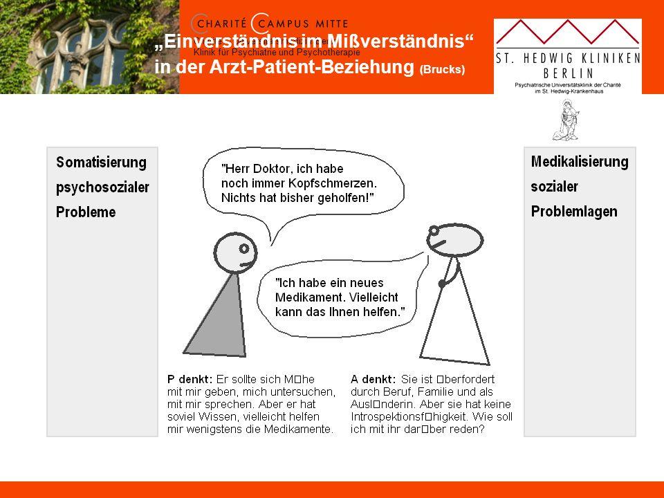 Charité – Universitätsmedizin Berlin Klinik für Psychiatrie und Psychotherapie Einverständnis im Mißverständnis in der Arzt-Patient-Beziehung (Brucks)