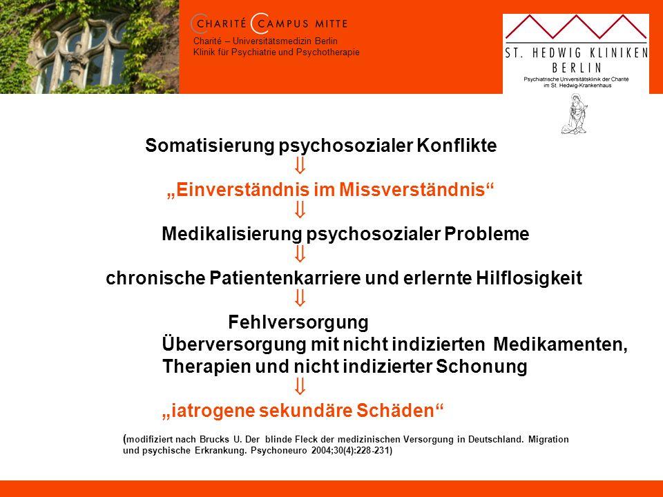 Charité – Universitätsmedizin Berlin Klinik für Psychiatrie und Psychotherapie ( modifiziert nach Brucks U. Der blinde Fleck der medizinischen Versorg