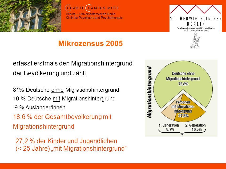 Charité – Universitätsmedizin Berlin Klinik für Psychiatrie und Psychotherapie Mikrozensus 2005 erfasst erstmals den Migrationshintergrund der Bevölke