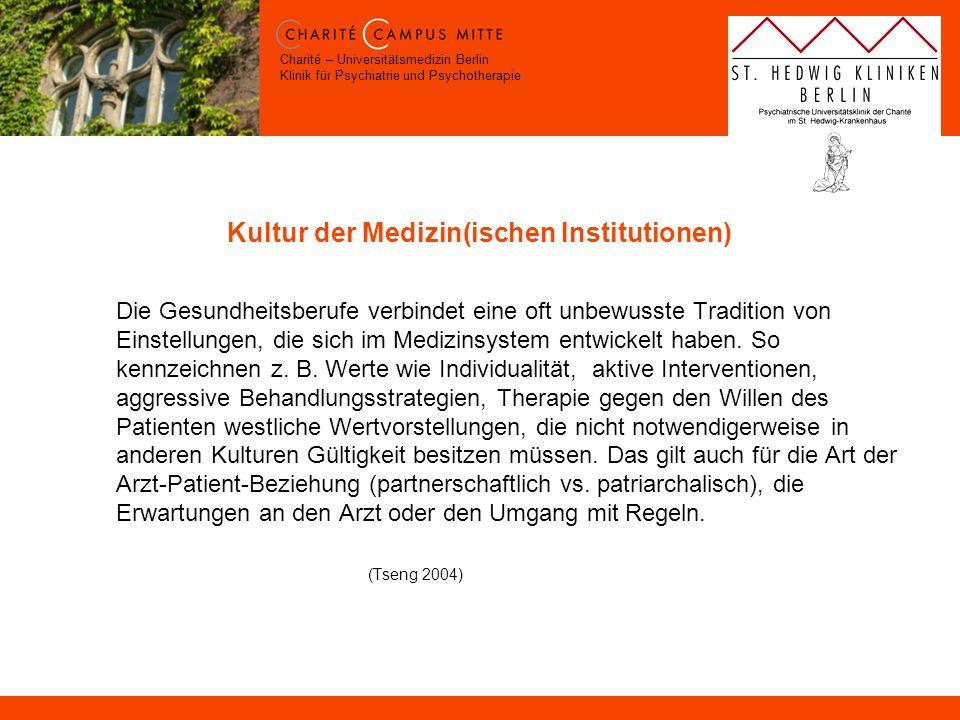 Charité – Universitätsmedizin Berlin Klinik für Psychiatrie und Psychotherapie Kultur der Medizin(ischen Institutionen) Die Gesundheitsberufe verbinde