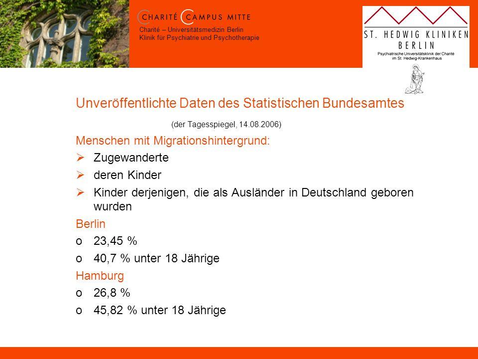 Charité – Universitätsmedizin Berlin Klinik für Psychiatrie und Psychotherapie Unveröffentlichte Daten des Statistischen Bundesamtes (der Tagesspiegel
