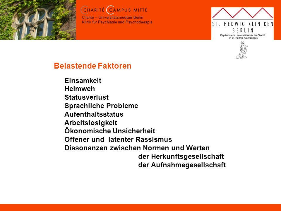 Charité – Universitätsmedizin Berlin Klinik für Psychiatrie und Psychotherapie Belastende Faktoren Einsamkeit Heimweh Statusverlust Sprachliche Proble