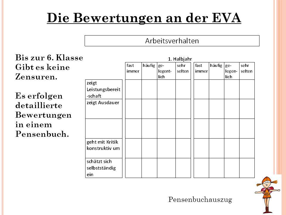 Die Bewertungen an der EVA Bis zur 6. Klasse Gibt es keine Zensuren. Es erfolgen detaillierte Bewertungen in einem Pensenbuch. Pensenbuchauszug