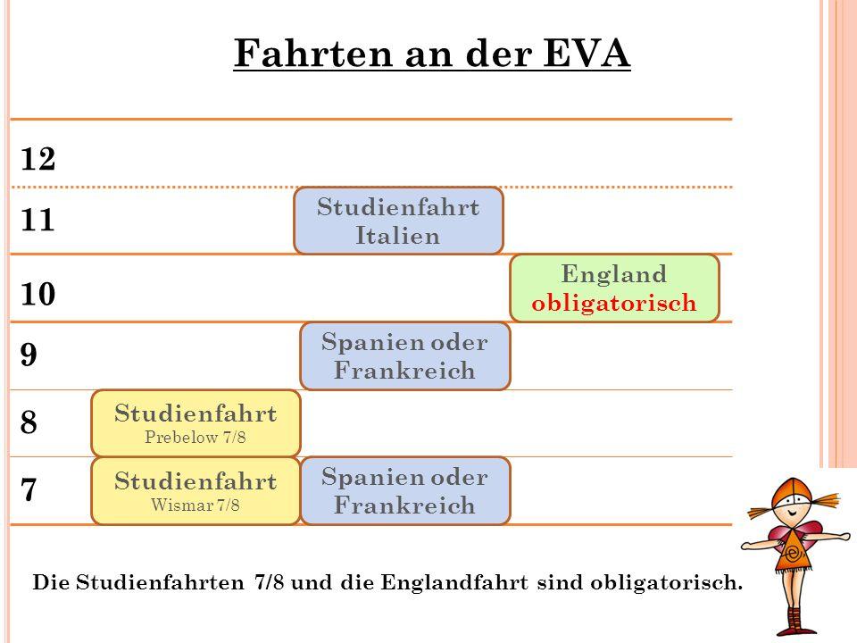 Fahrten an der EVA 7 8 9 10 11 12 Studienfahrt Wismar 7/8 Spanien oder Frankreich Studienfahrt Italien Studienfahrt Prebelow 7/8 Spanien oder Frankrei