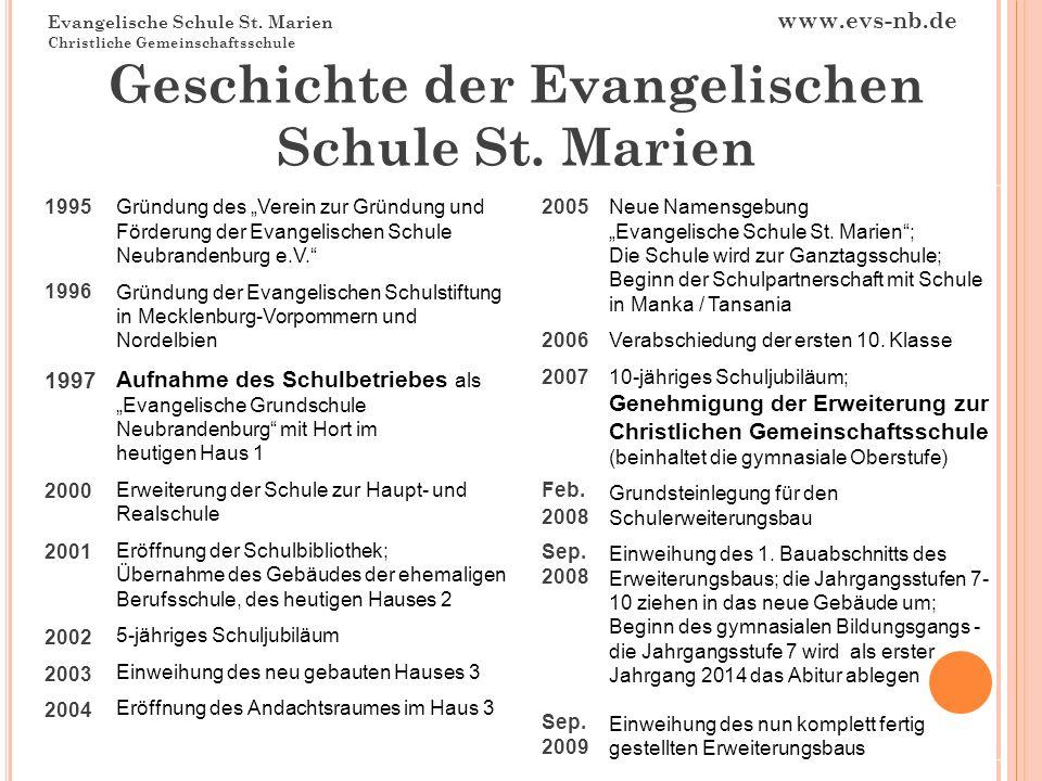 Evangelische Schule St. Marien www.evs-nb.de Christliche Gemeinschaftsschule Geschichte der Evangelischen Schule St. Marien 1995 1996 1997 2000 2001 2