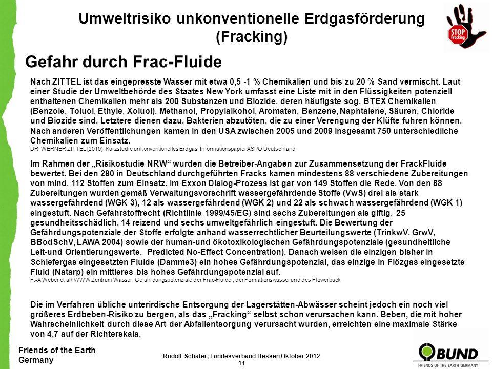 Friends of the Earth Germany Umweltrisiko unkonventionelle Erdgasförderung (Fracking) Flächeninanspruchnahme Zerstörung der Landschaft Rudolf Schäfer,