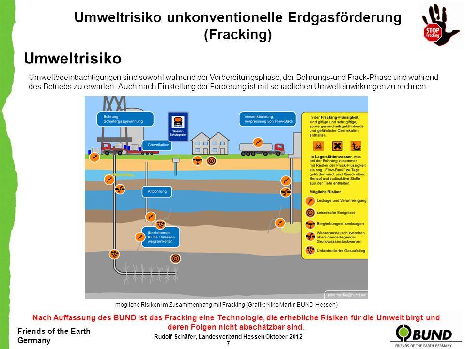 Friends of the Earth Germany Umweltrisiko unkonventionelle Erdgasförderung (Fracking) Umweltrisiko Umweltbeeinträchtigungen sind sowohl während der Vorbereitungsphase, der Bohrungs-und Frack-Phase und während des Betriebs zu erwarten.