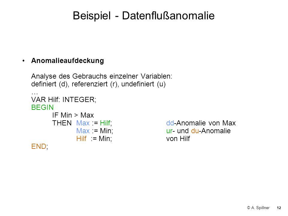 12 © A. Spillner Beispiel - Datenflußanomalie Anomalieaufdeckung Analyse des Gebrauchs einzelner Variablen: definiert (d), referenziert (r), undefinie