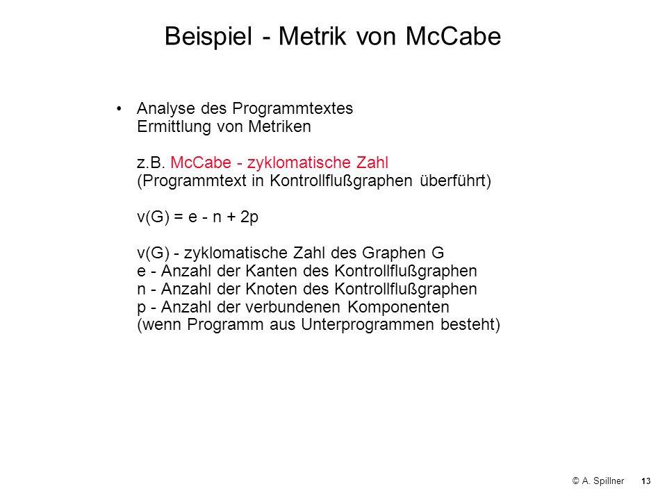 13 © A. Spillner Beispiel - Metrik von McCabe Analyse des Programmtextes Ermittlung von Metriken z.B. McCabe - zyklomatische Zahl (Programmtext in Kon