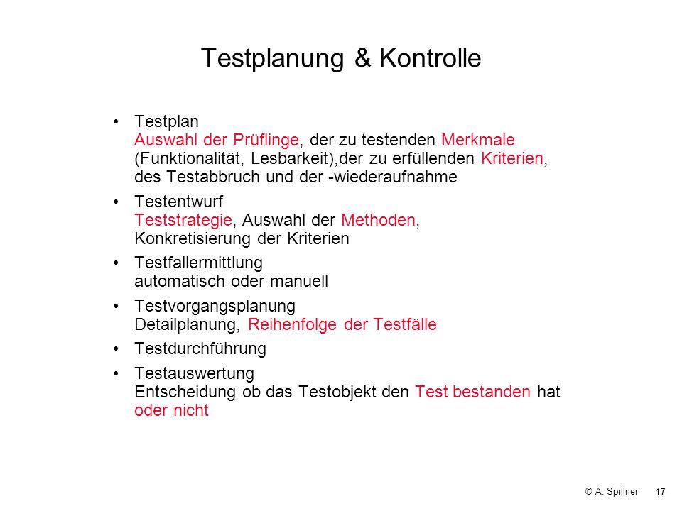17 © A. Spillner Testplanung & Kontrolle Testplan Auswahl der Prüflinge, der zu testenden Merkmale (Funktionalität, Lesbarkeit),der zu erfüllenden Kri