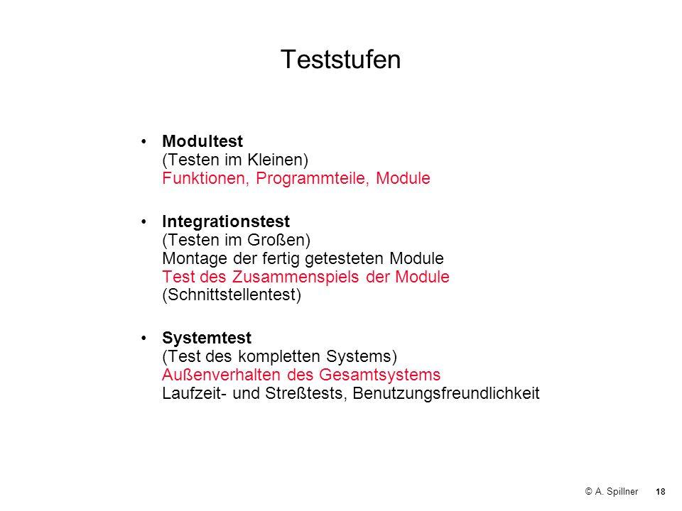 18 © A. Spillner Teststufen Modultest (Testen im Kleinen) Funktionen, Programmteile, Module Integrationstest (Testen im Großen) Montage der fertig get