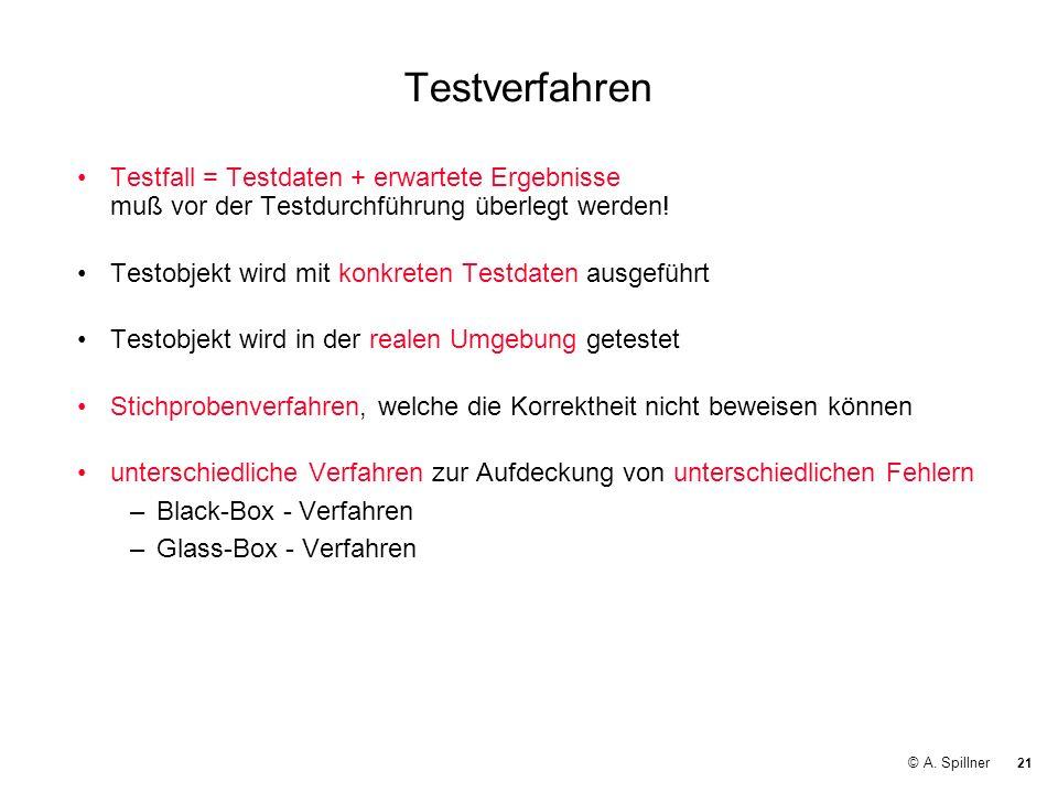 21 © A. Spillner Testverfahren Testfall = Testdaten + erwartete Ergebnisse muß vor der Testdurchführung überlegt werden! Testobjekt wird mit konkreten