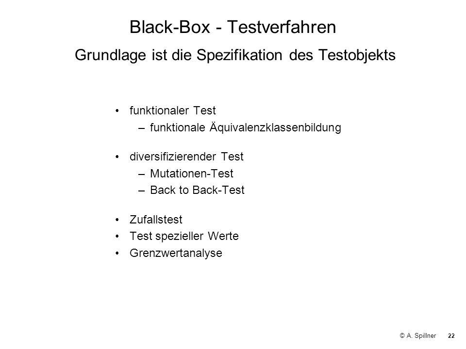 22 © A. Spillner Black-Box - Testverfahren Grundlage ist die Spezifikation des Testobjekts funktionaler Test –funktionale Äquivalenzklassenbildung div