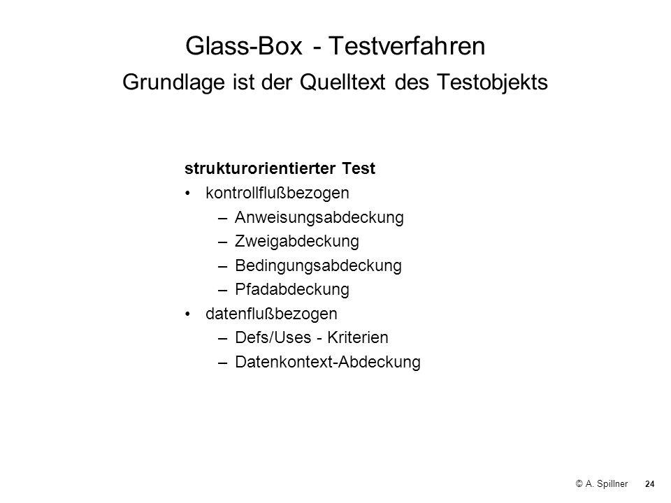 24 © A. Spillner Glass-Box - Testverfahren Grundlage ist der Quelltext des Testobjekts strukturorientierter Test kontrollflußbezogen –Anweisungsabdeck