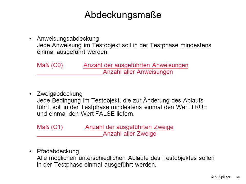 26 © A. Spillner Abdeckungsmaße Anweisungsabdeckung Jede Anweisung im Testobjekt soll in der Testphase mindestens einmal ausgeführt werden. Maß (C0) A