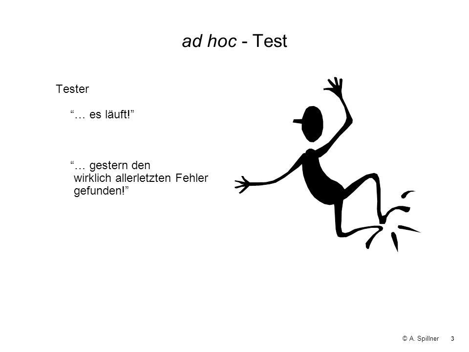 3 © A. Spillner ad hoc - Test Tester … es läuft! … gestern den wirklich allerletzten Fehler gefunden!