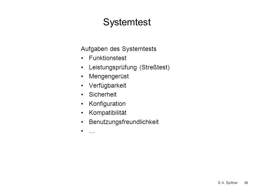 30 © A. Spillner Systemtest Aufgaben des Systemtests Funktionstest Leistungsprüfung (Streßtest) Mengengerüst Verfügbarkeit Sicherheit Konfiguration Ko
