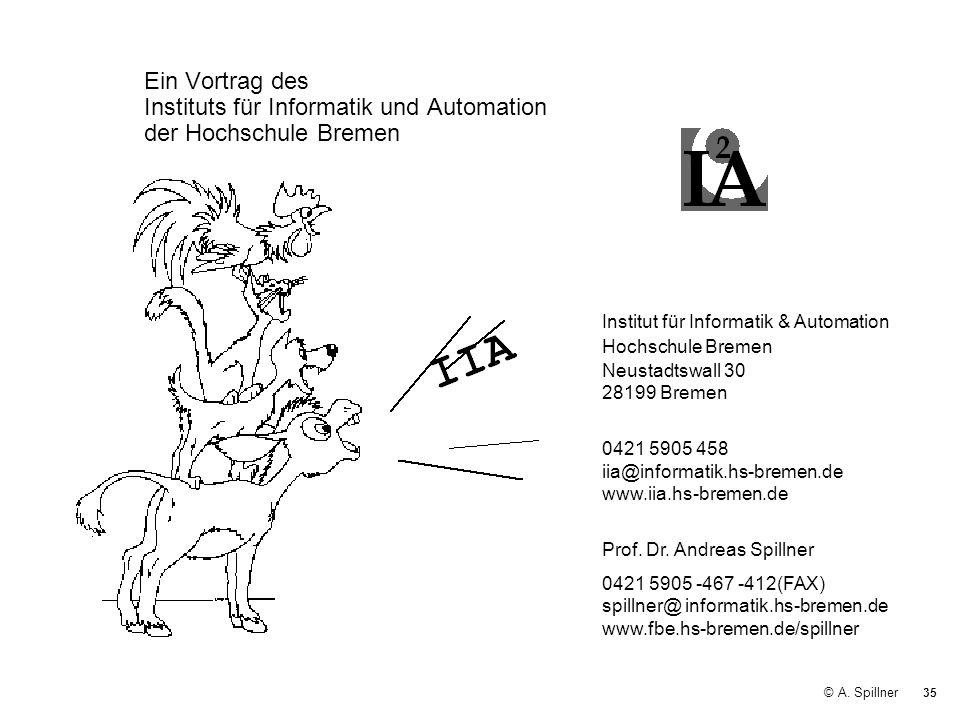 35 © A. Spillner Ein Vortrag des Instituts für Informatik und Automation der Hochschule Bremen Institut für Informatik & Automation Hochschule Bremen
