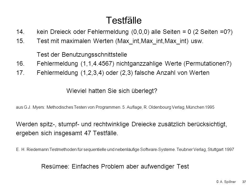 37 © A. Spillner Testfälle 14.kein Dreieck oder Fehlermeldung (0,0,0) alle Seiten = 0 (2 Seiten =0?) 15.Test mit maximalen Werten (Max_int,Max_int,Max
