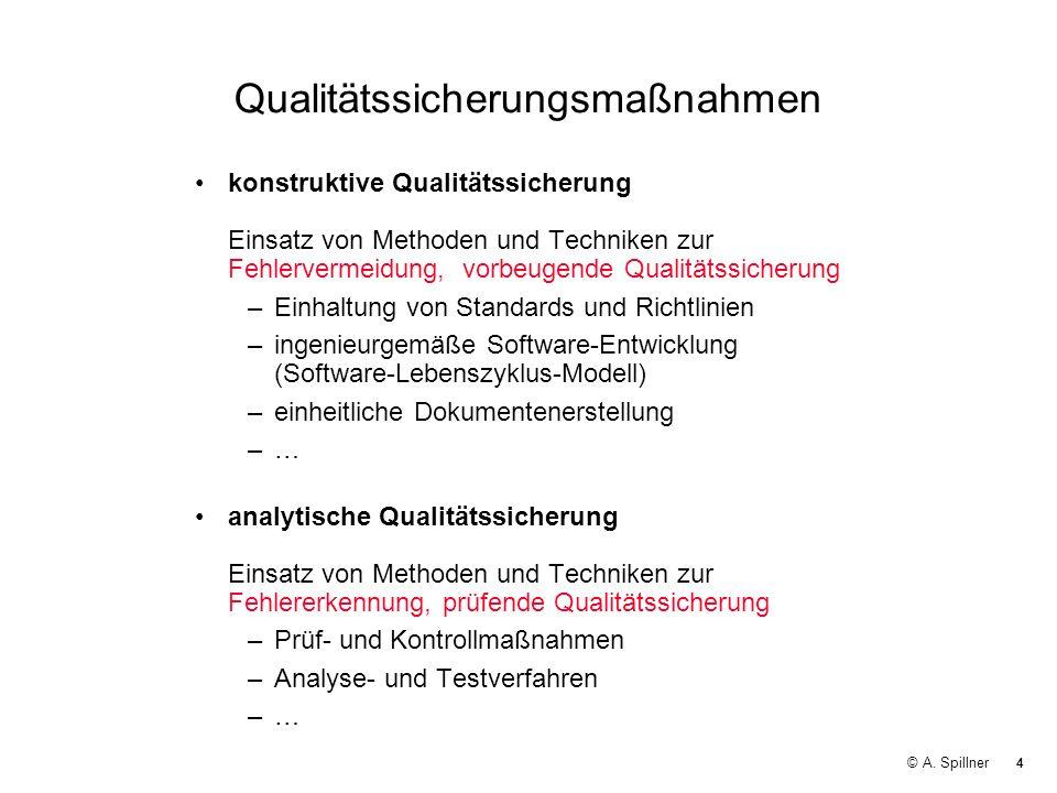 4 © A. Spillner Qualitätssicherungsmaßnahmen konstruktive Qualitätssicherung Einsatz von Methoden und Techniken zur Fehlervermeidung, vorbeugende Qual