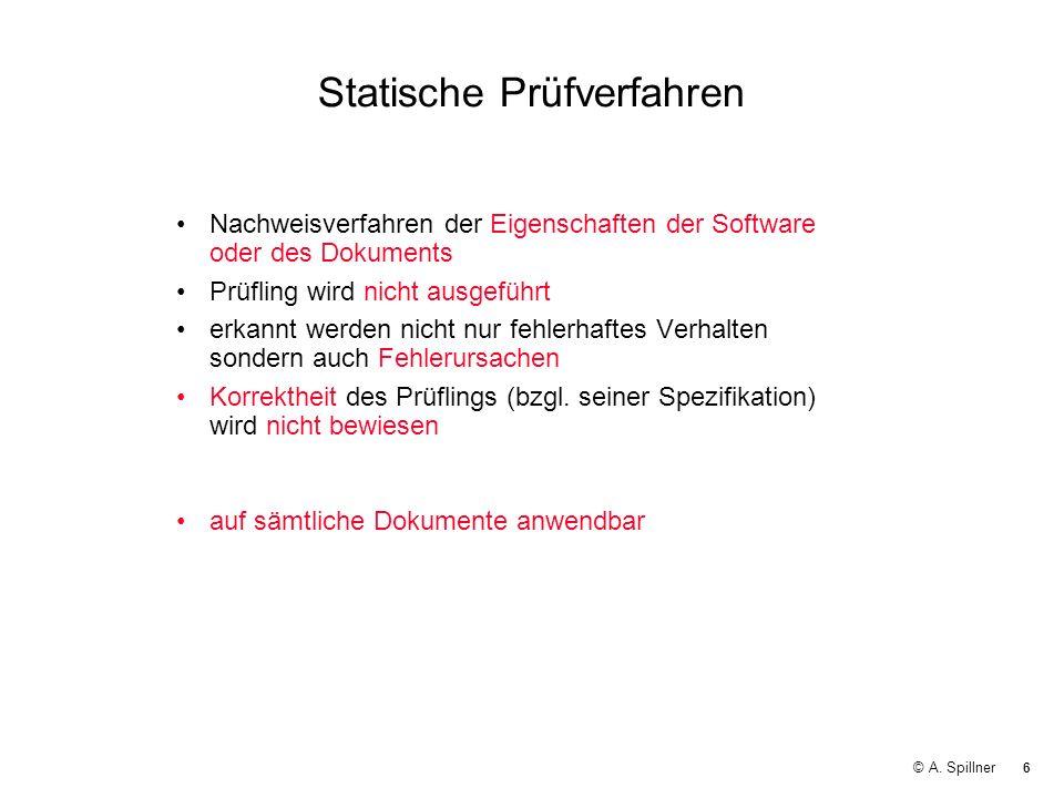 6 © A. Spillner Statische Prüfverfahren Nachweisverfahren der Eigenschaften der Software oder des Dokuments Prüfling wird nicht ausgeführt erkannt wer