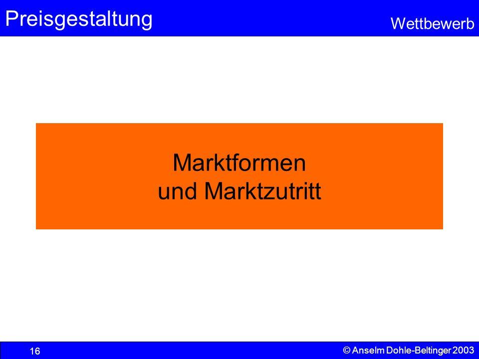 Preisgestaltung Wettbewerb © Anselm Dohle-Beltinger 2003 16 Marktformen und Marktzutritt
