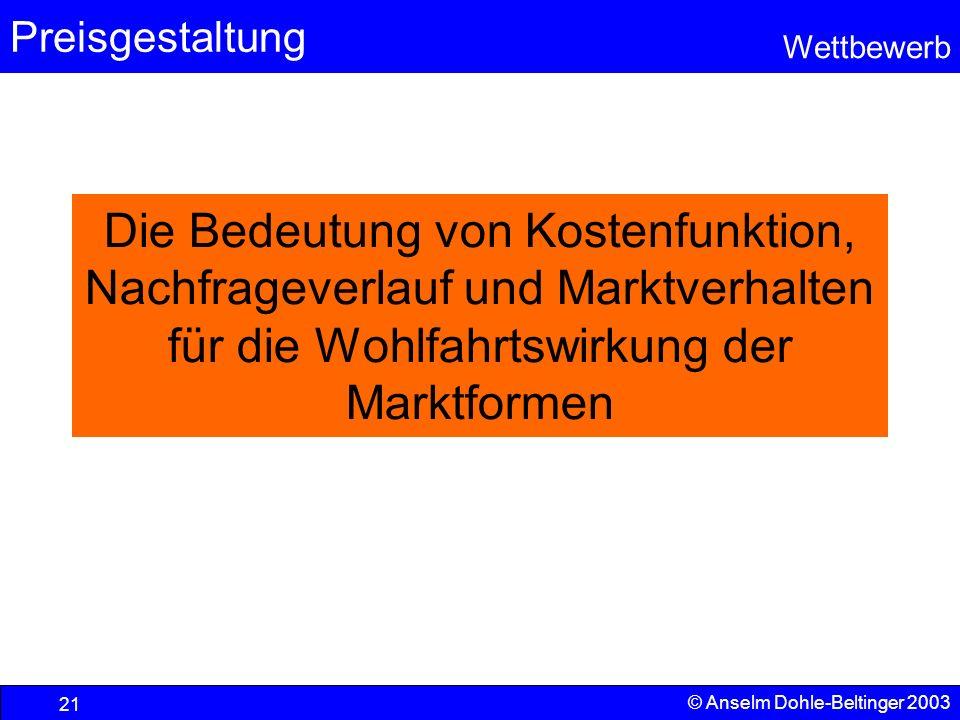 Preisgestaltung Wettbewerb © Anselm Dohle-Beltinger 2003 21 Die Bedeutung von Kostenfunktion, Nachfrageverlauf und Marktverhalten für die Wohlfahrtswi
