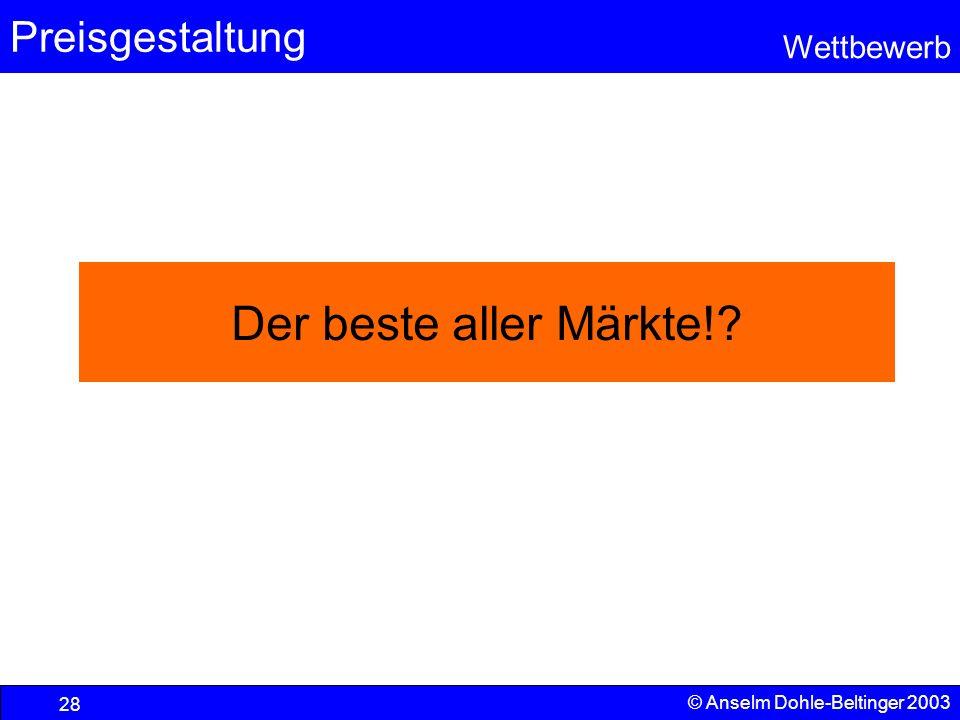 Preisgestaltung Wettbewerb © Anselm Dohle-Beltinger 2003 28 Der beste aller Märkte!?