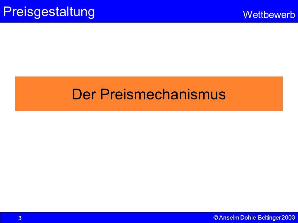 Preisgestaltung Wettbewerb © Anselm Dohle-Beltinger 2003 3 Der Preismechanismus
