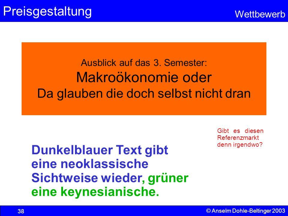 Preisgestaltung Wettbewerb © Anselm Dohle-Beltinger 2003 38 Ausblick auf das 3. Semester: Makroökonomie oder Da glauben die doch selbst nicht dran Gib