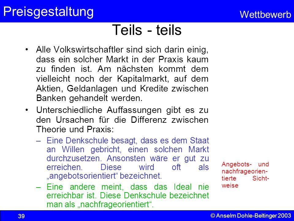 Preisgestaltung Wettbewerb © Anselm Dohle-Beltinger 2003 39 Teils - teils Alle Volkswirtschaftler sind sich darin einig, dass ein solcher Markt in der