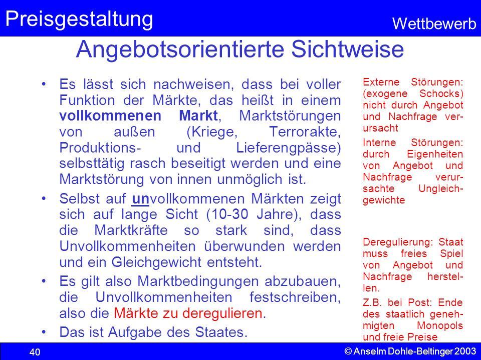 Preisgestaltung Wettbewerb © Anselm Dohle-Beltinger 2003 40 Angebotsorientierte Sichtweise Es lässt sich nachweisen, dass bei voller Funktion der Märk
