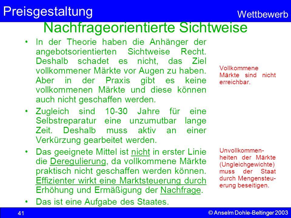 Preisgestaltung Wettbewerb © Anselm Dohle-Beltinger 2003 41 Nachfrageorientierte Sichtweise In der Theorie haben die Anhänger der angebotsorientierten